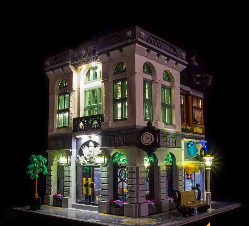 10251 LEGO Brick Bank FRONT Light My - Bricks Delight